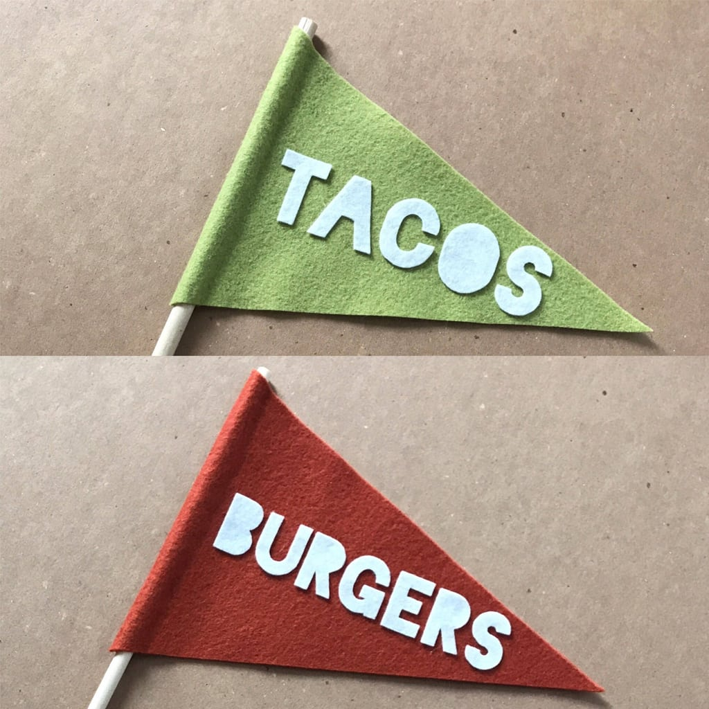 Tacos and Burgers Wool Felt Pennant from felt up by amelia