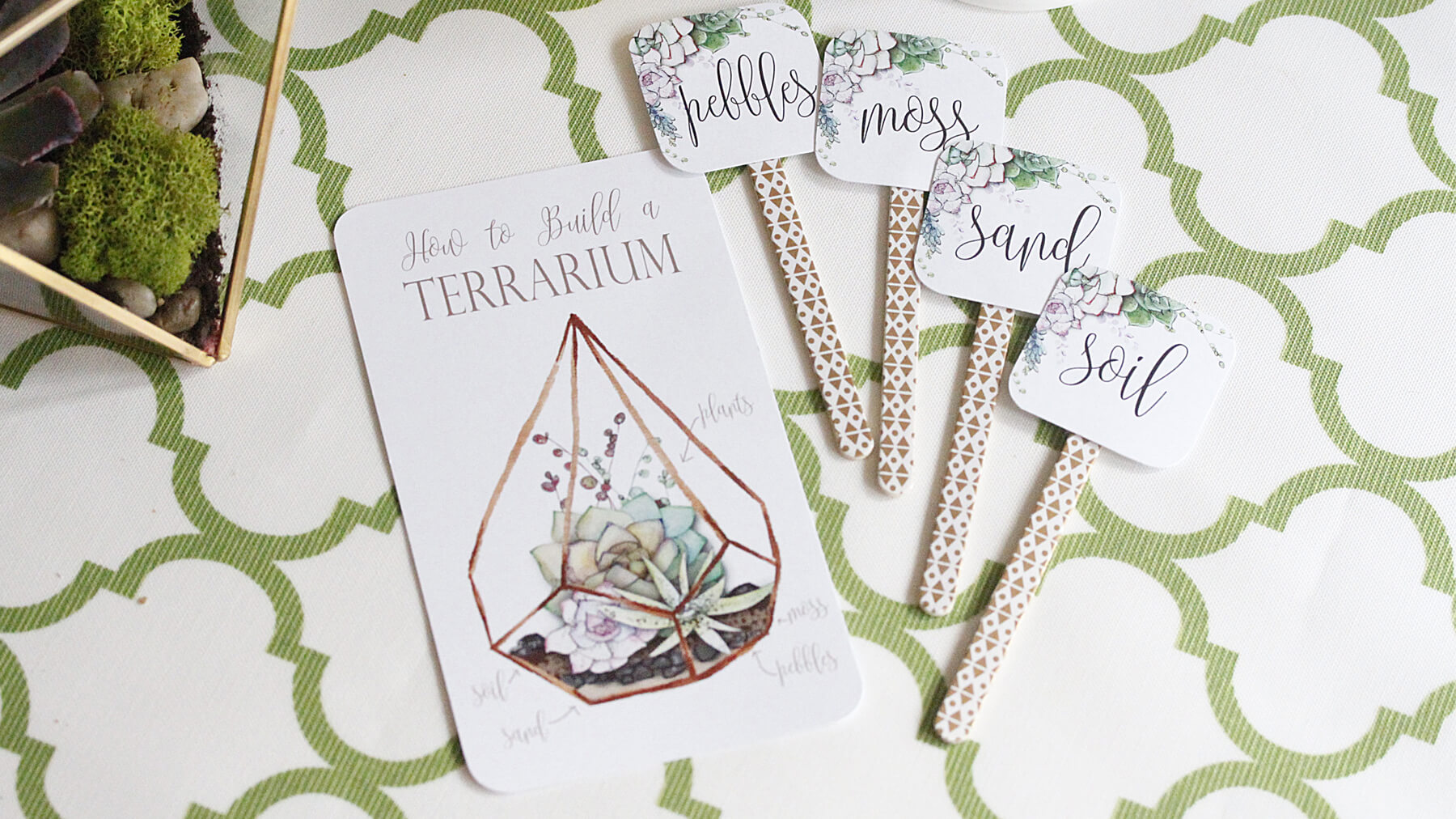 DIY Party Printables from Modern Terrarium Making Party styled by A Lovely Design   Black Twine