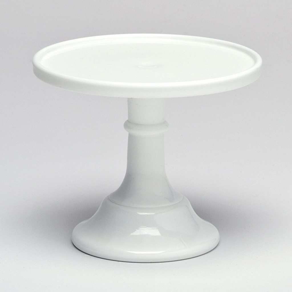 "Milk White 9"" Glass Cake Stand - By Mosser Glass"