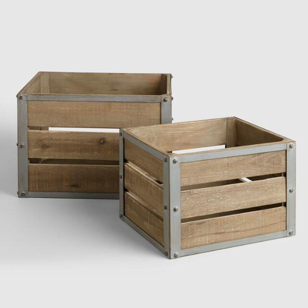 sebastian crate wood metal - cost plus world market