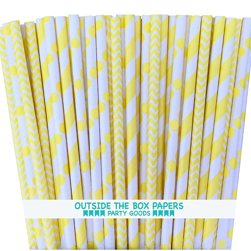 Yellow & White Paper Straws