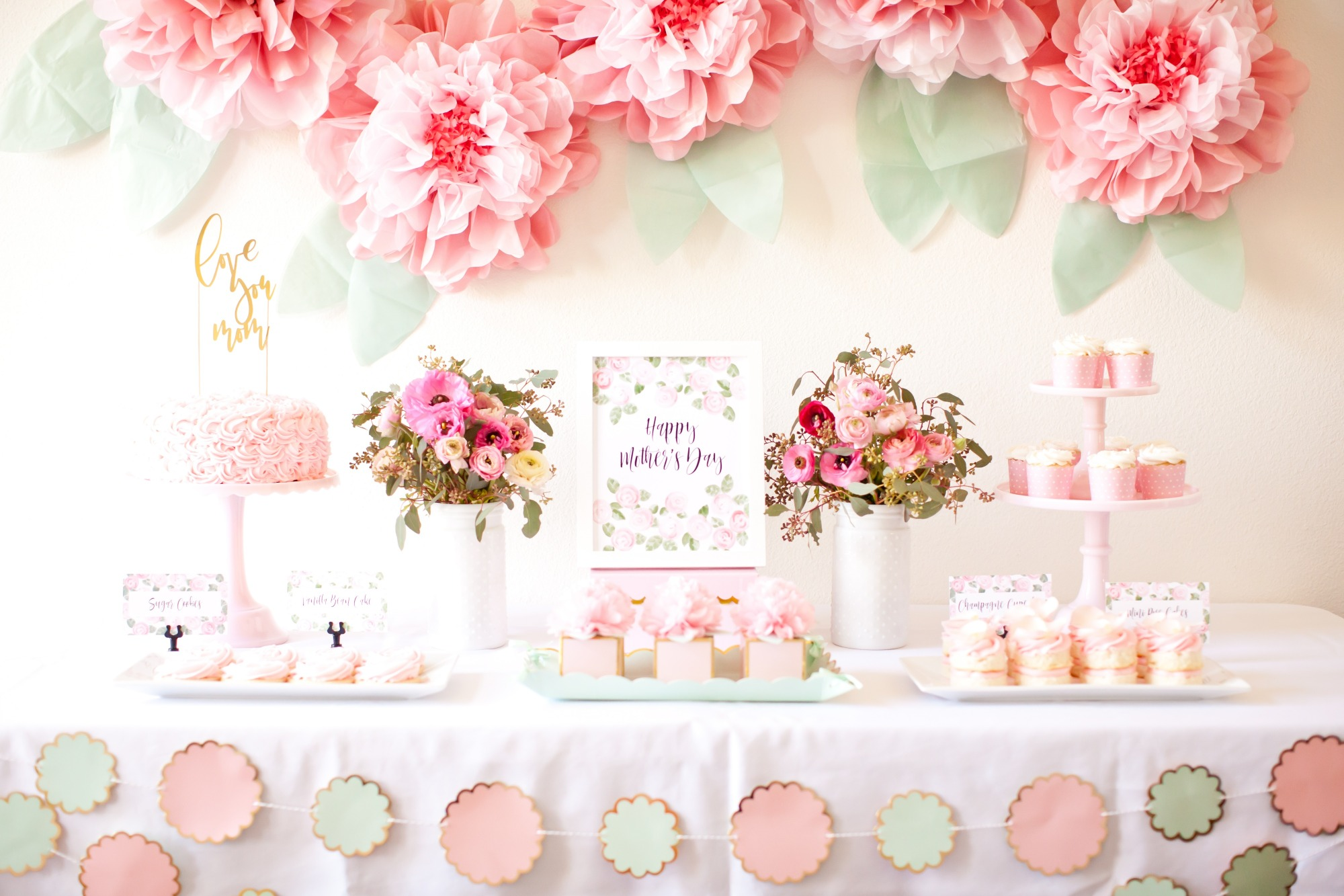 Dessert Table from Mother's Day Brunch Styled by Kiss Me Kate Studio | Black Twine