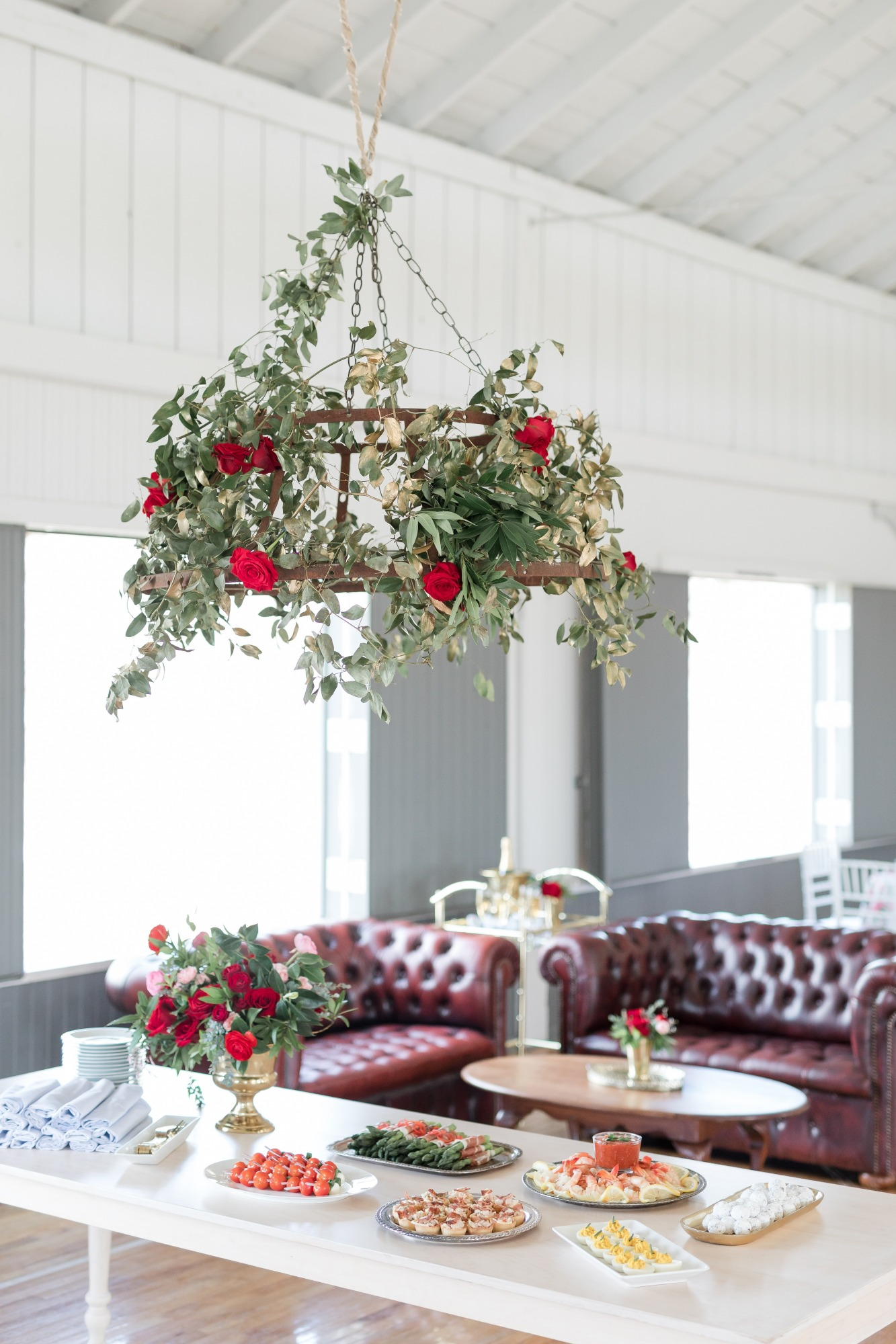 Food Table and Rose Chandelier from Off to the Races Derby Party Styled by Cherry Blossom Events | Black Twine