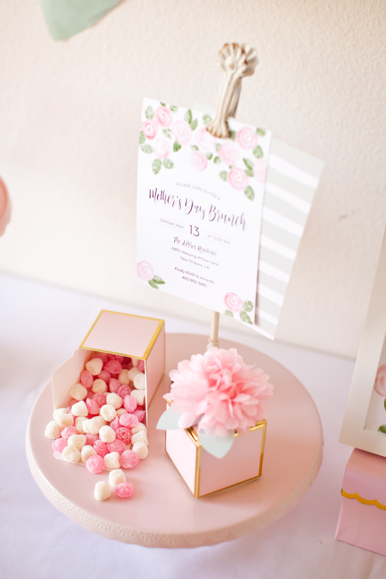 Invitation and Favor Box of Candy from Mother's Day Brunch Styled by Kiss Me Kate Studio | Black Twine