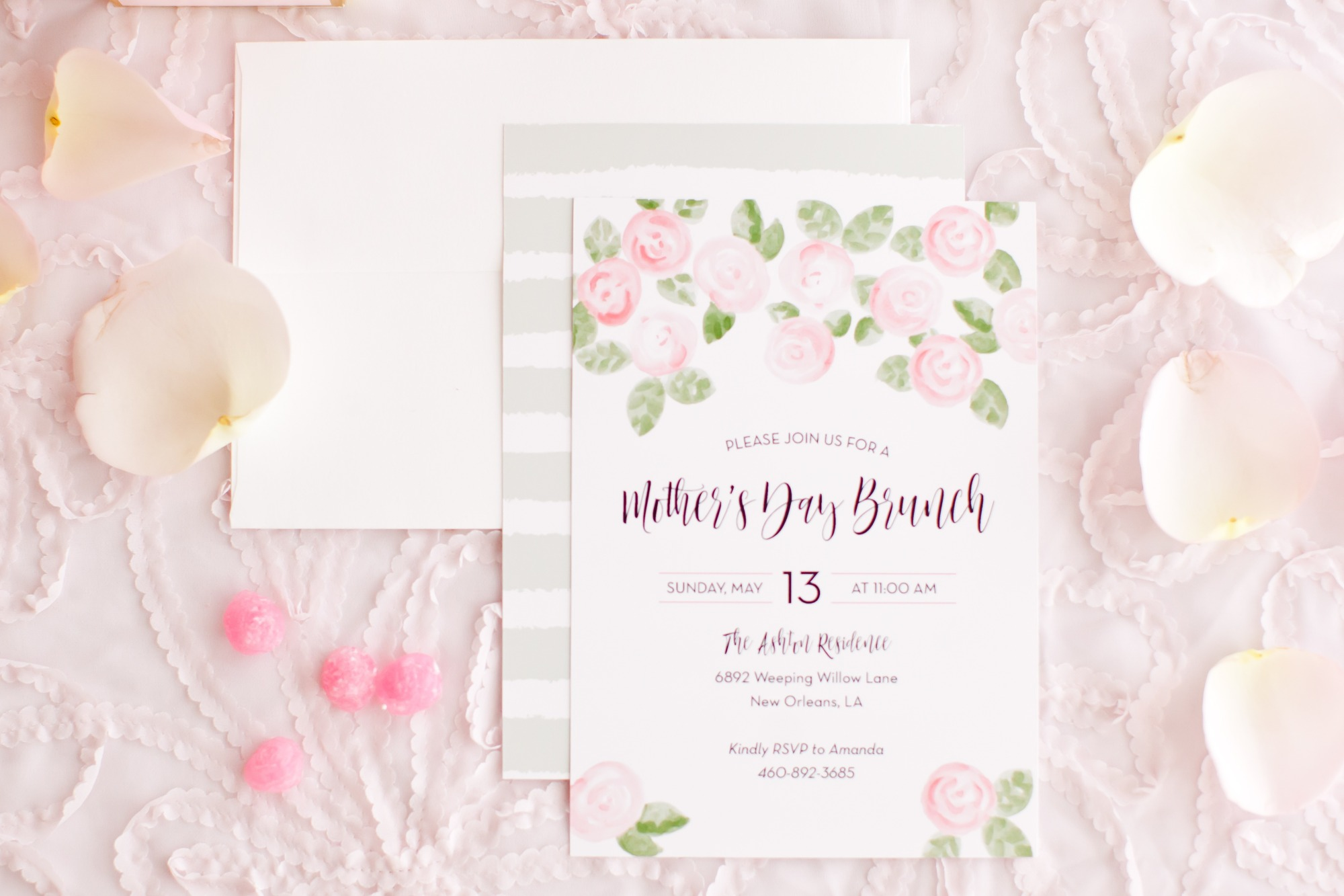 Invitation from Mother's Day Brunch Styled by Kiss Me Kate Studio | Black Twine