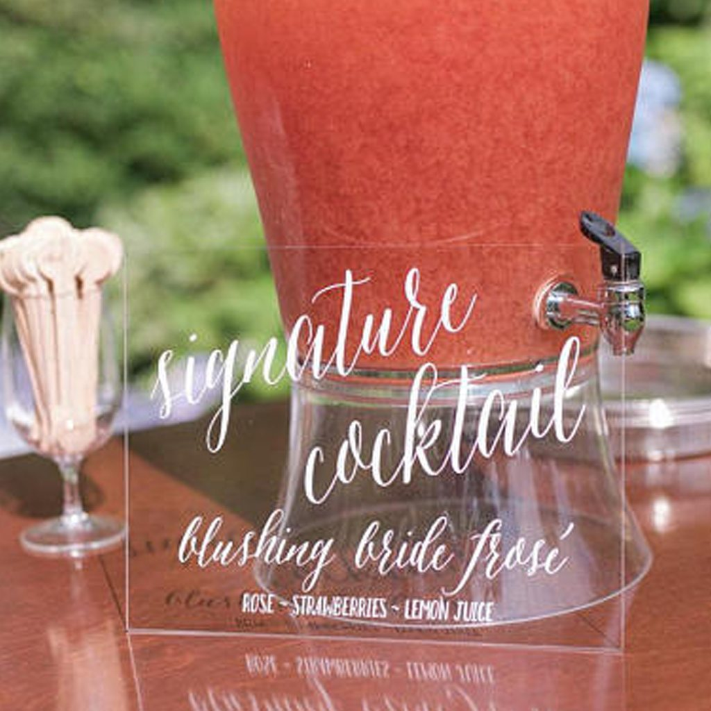 Acrylic Drink Signage by Paper and Pine Co.