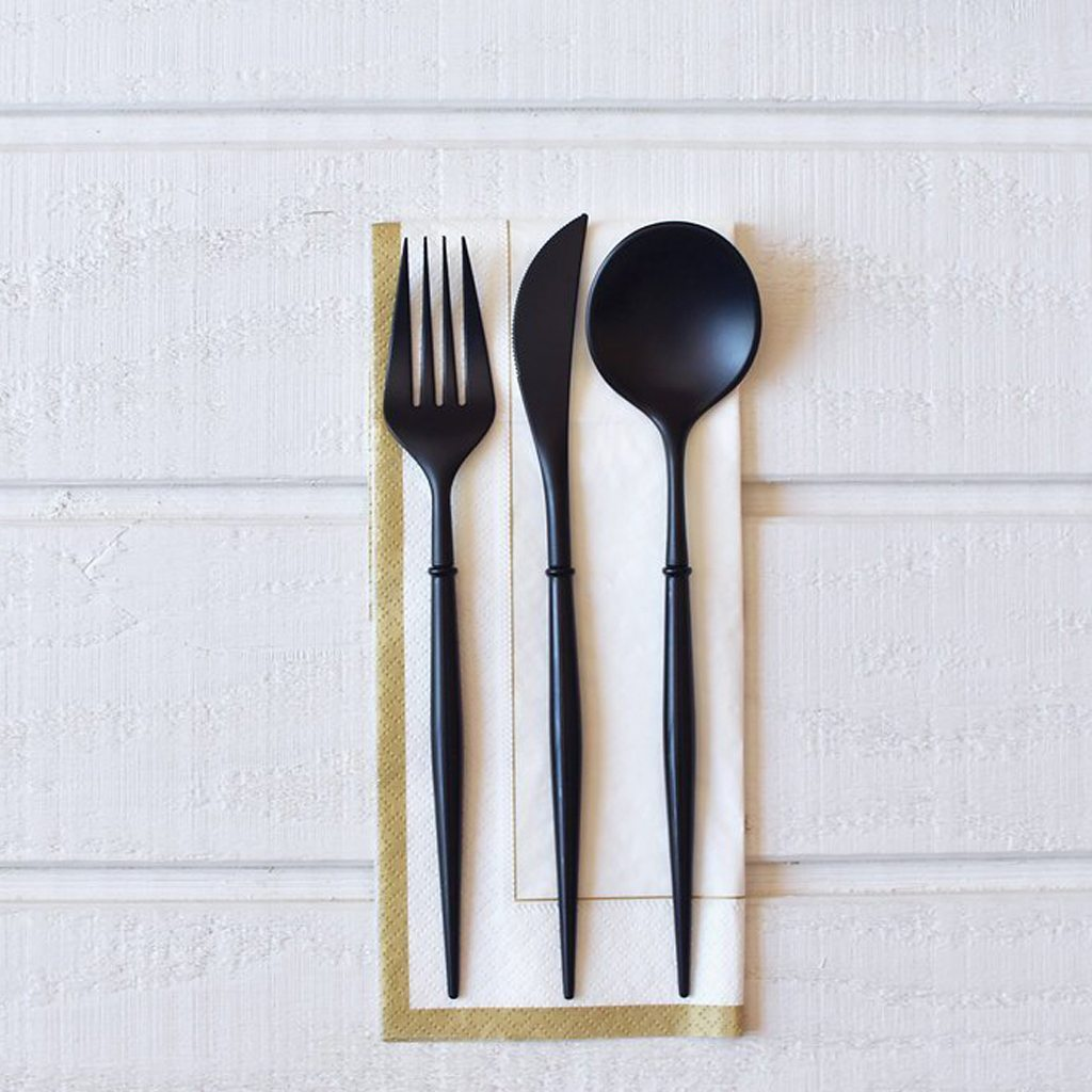 Black Bella 24pc Assorted Flatware by Sophistiplate