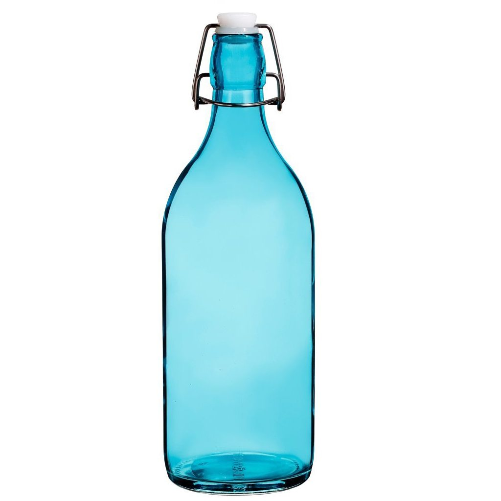 Colorful Reusable Glass Water Bottles With Swing Top Leakproof Cap, 1L / 34oz