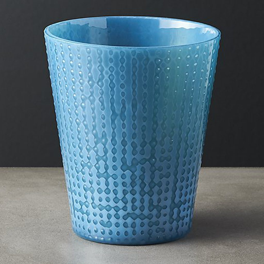 dip milky blue double old-fashioned glass by CB2