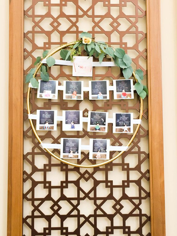 Baby Photo Display from Botanical Garden Birthday Party styled by Dohlhouse Designs | Black Twine