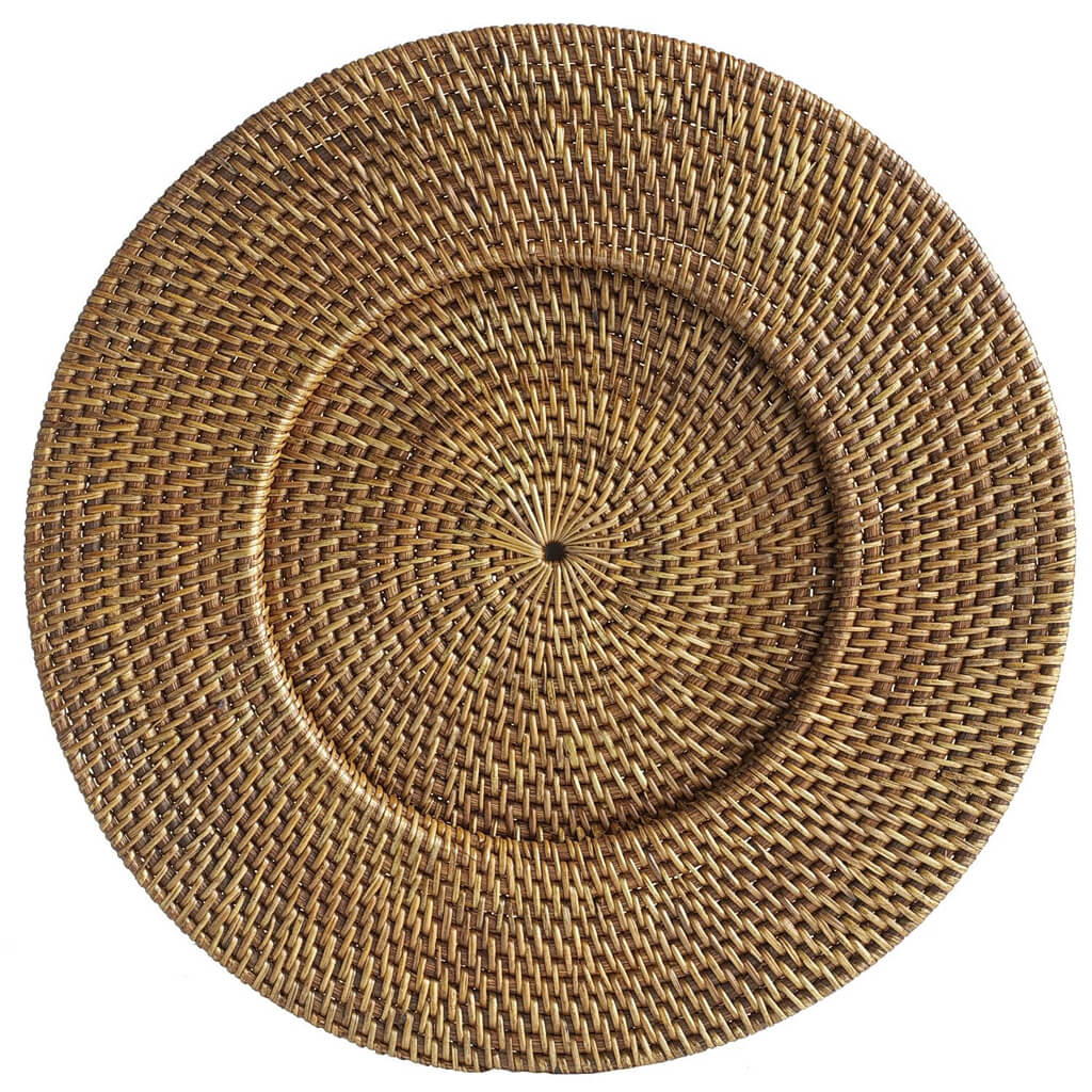 Brown Rattan Round Charger Plate from Pier 1