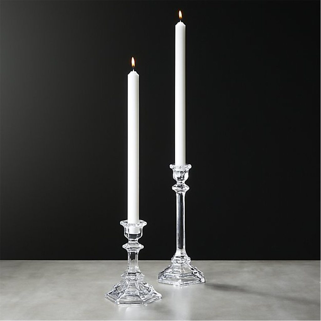 beverly clear taper candle holders set of 2 by CB2