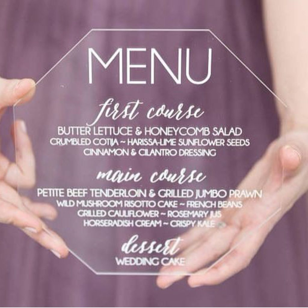 Acrylic Menu by Paper and Pine Co.
