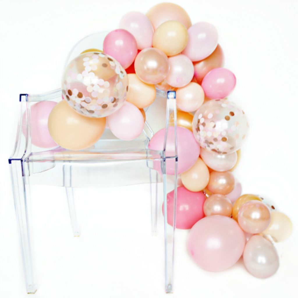 rose gold One Stylish Party DIY balloon garland kit