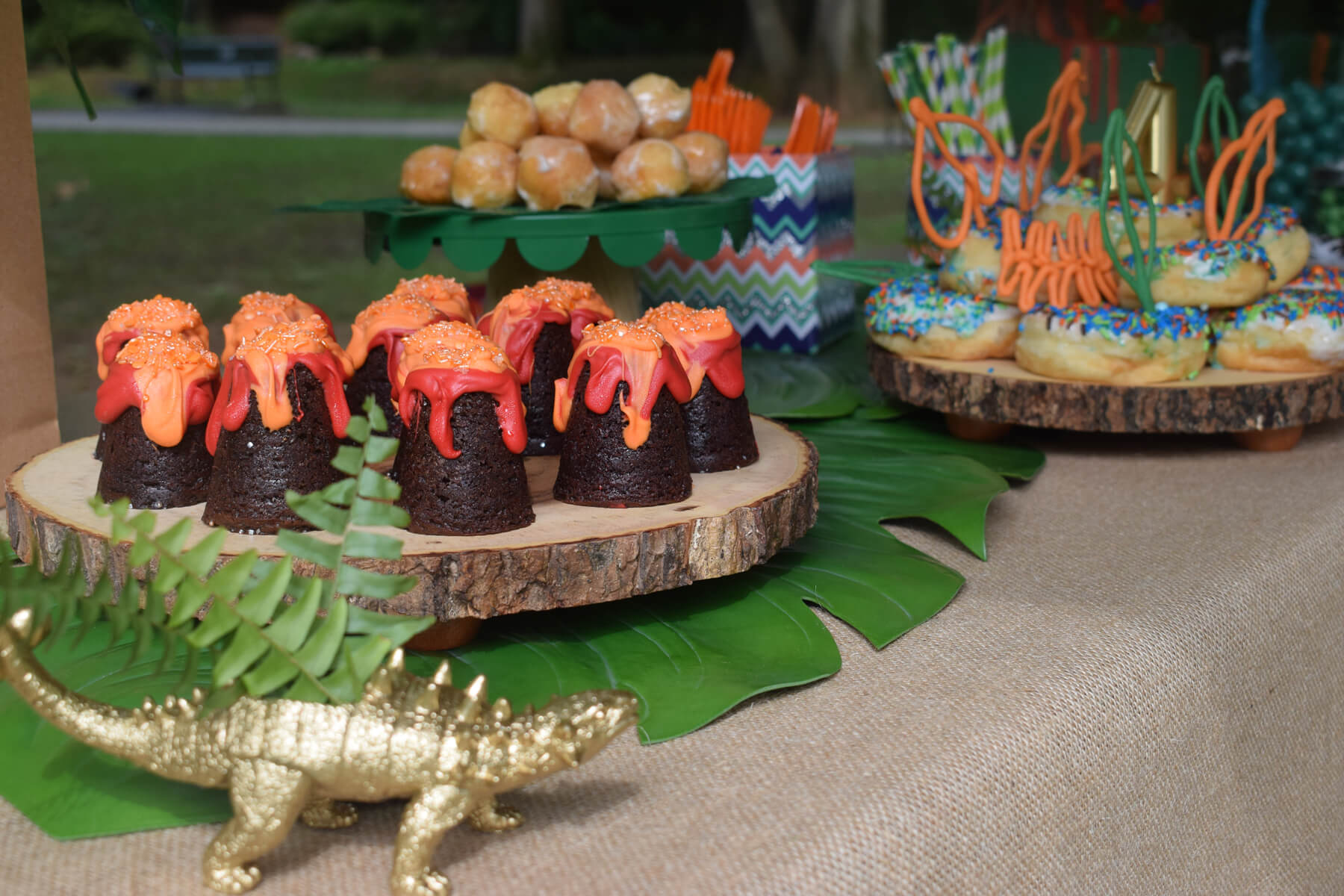 Dessert Table with Dinosaur Planter from Dinosaur Stomp Birthday Party styled by A Party Made Perfect | Black Twine