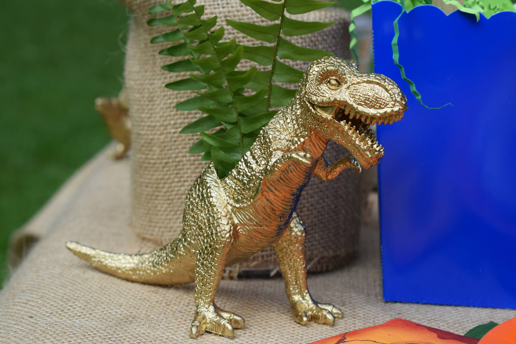 Dinosaur Planter from Dinosaur Stomp Birthday Party styled by A Party Made Perfect | Black Twine