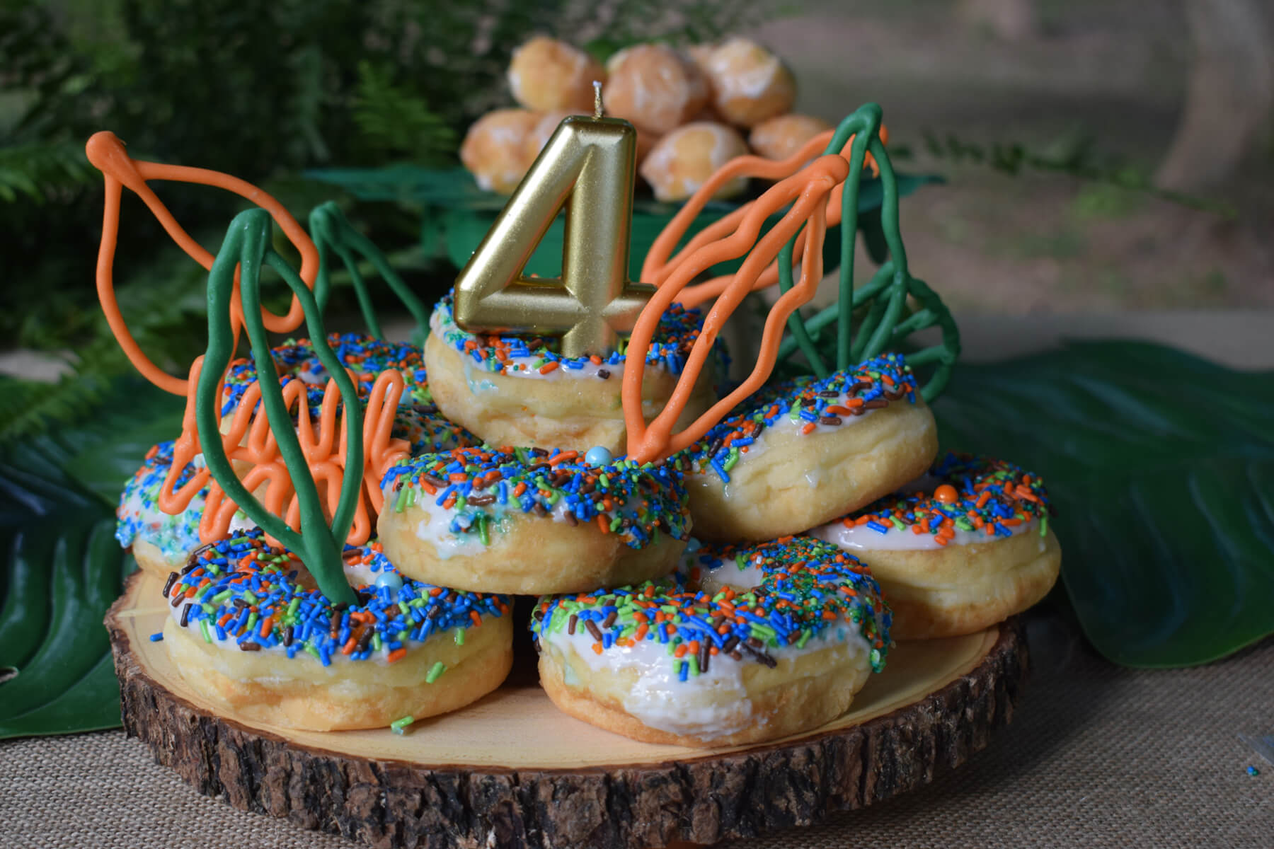 Dessert Table with Donuts from Dinosaur Stomp Birthday Party styled by A Party Made Perfect | Black Twine