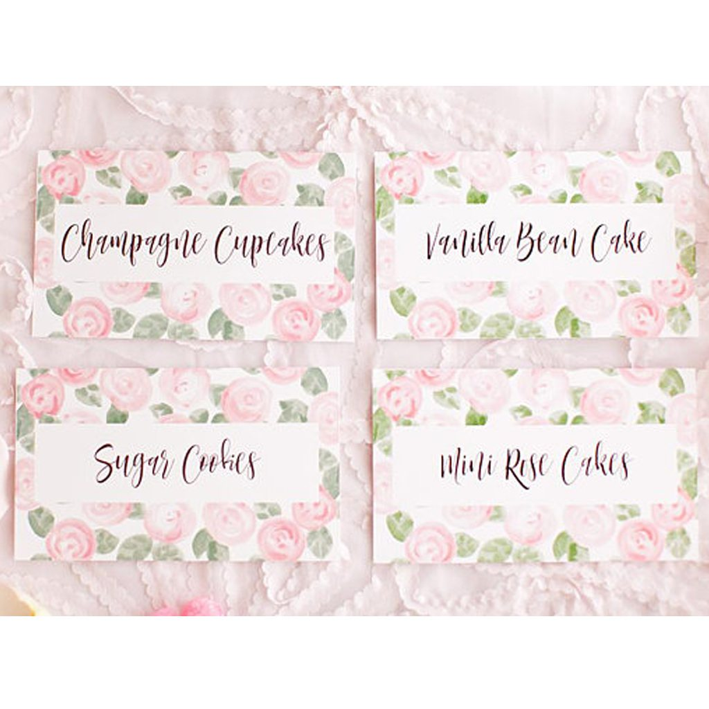 Kiss Me Kate Studio Blush Pink + Green Mother's Day Brunch Food Labels (6), Bridal Wedding Shower, Baby Shower, Garden Party Pink Watercolor Flower Floral Peony