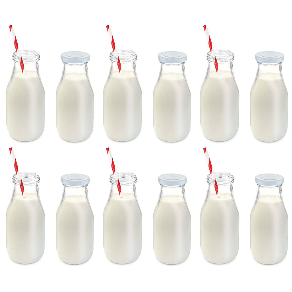 Vintage Glass Milk Bottles, 6-Pack