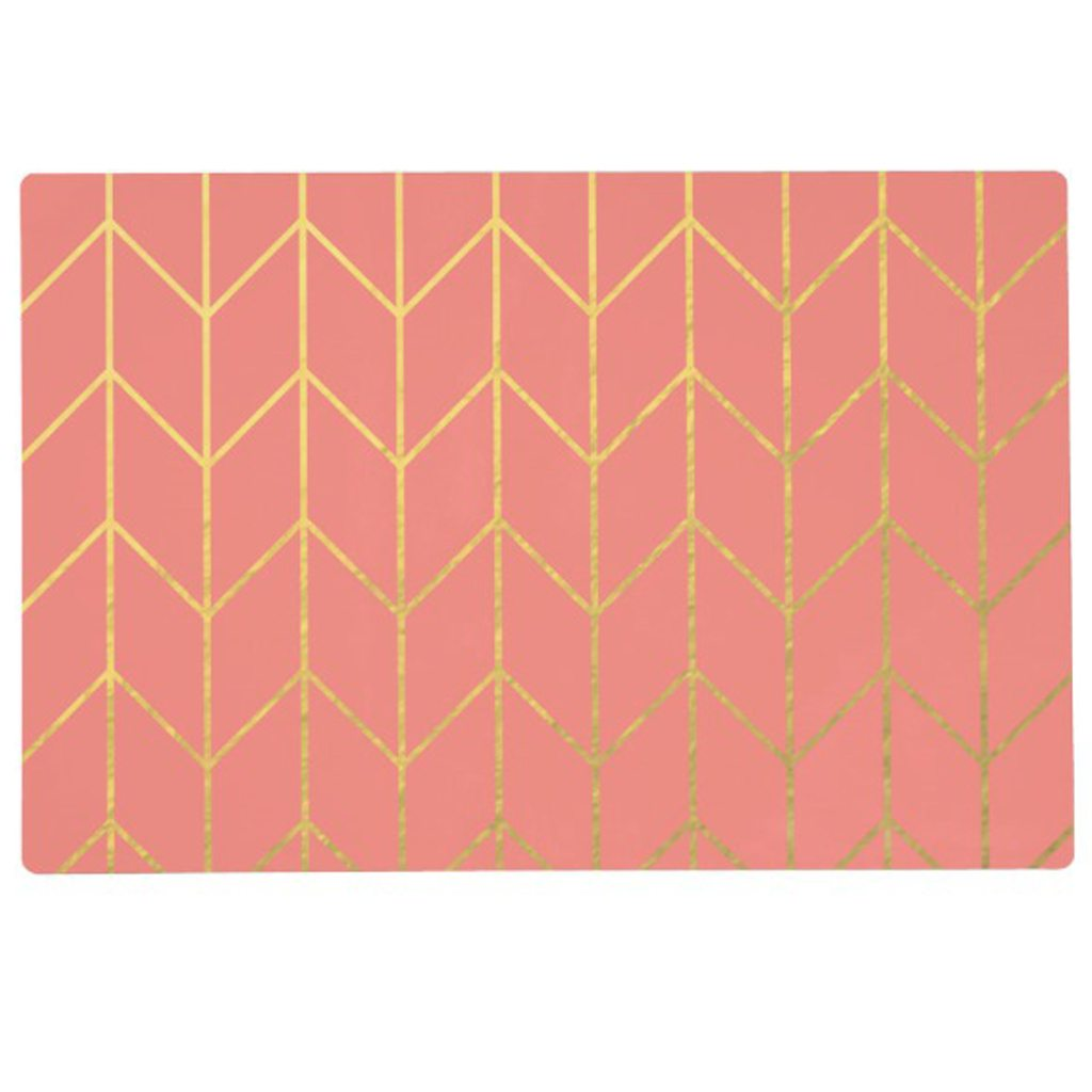 Gold Chevron Coral Pink Background Modern Chic Placemat Zazzle