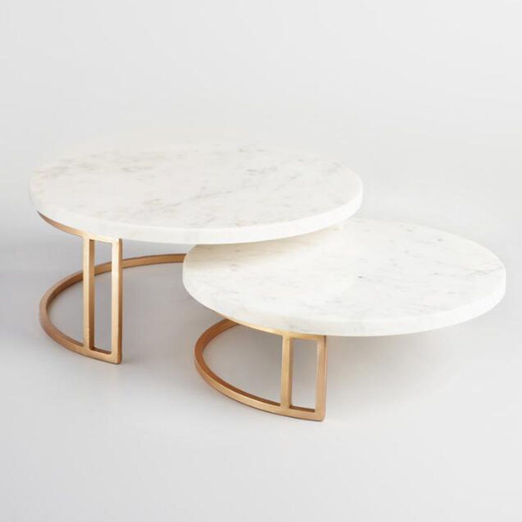 Gold And Marble Pedestal Stand - Cost Plus World Market