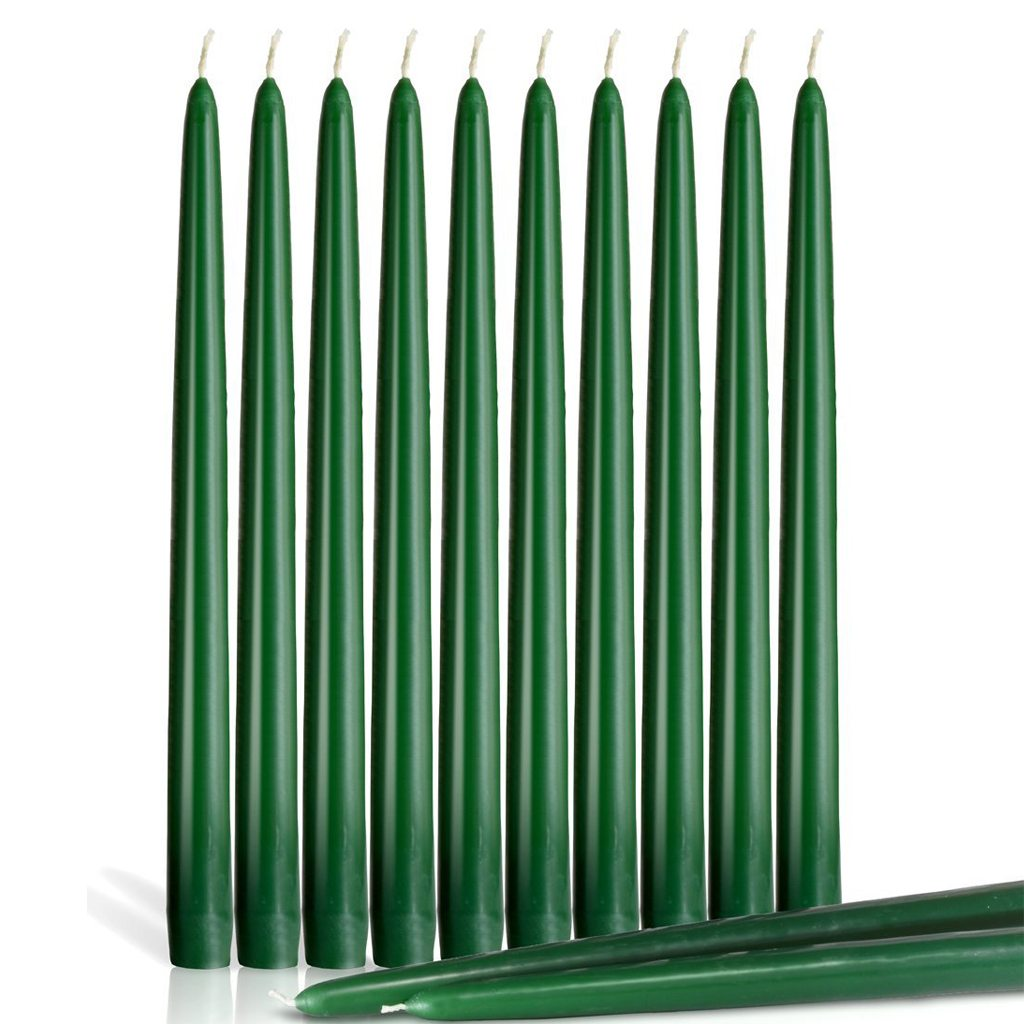 "Higlow Dripless Taper Candles 12"" Inch Tall Wedding , Holiday & Home Decoration Set Of 12 Party (Green)"