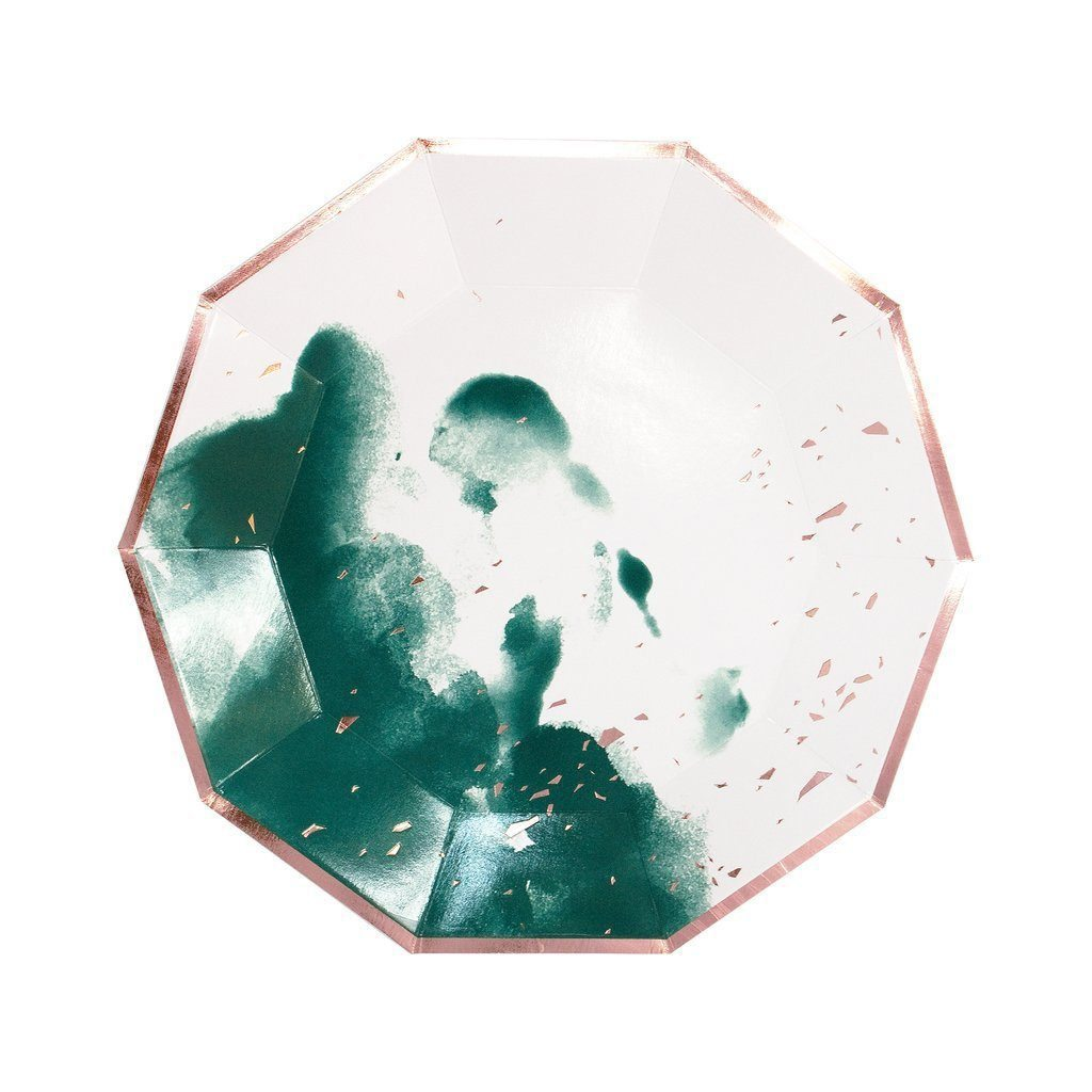 MANHATTAN - DARK GREEN WATERCOLOR LARGE PAPER PLATES by Harlow & Grey