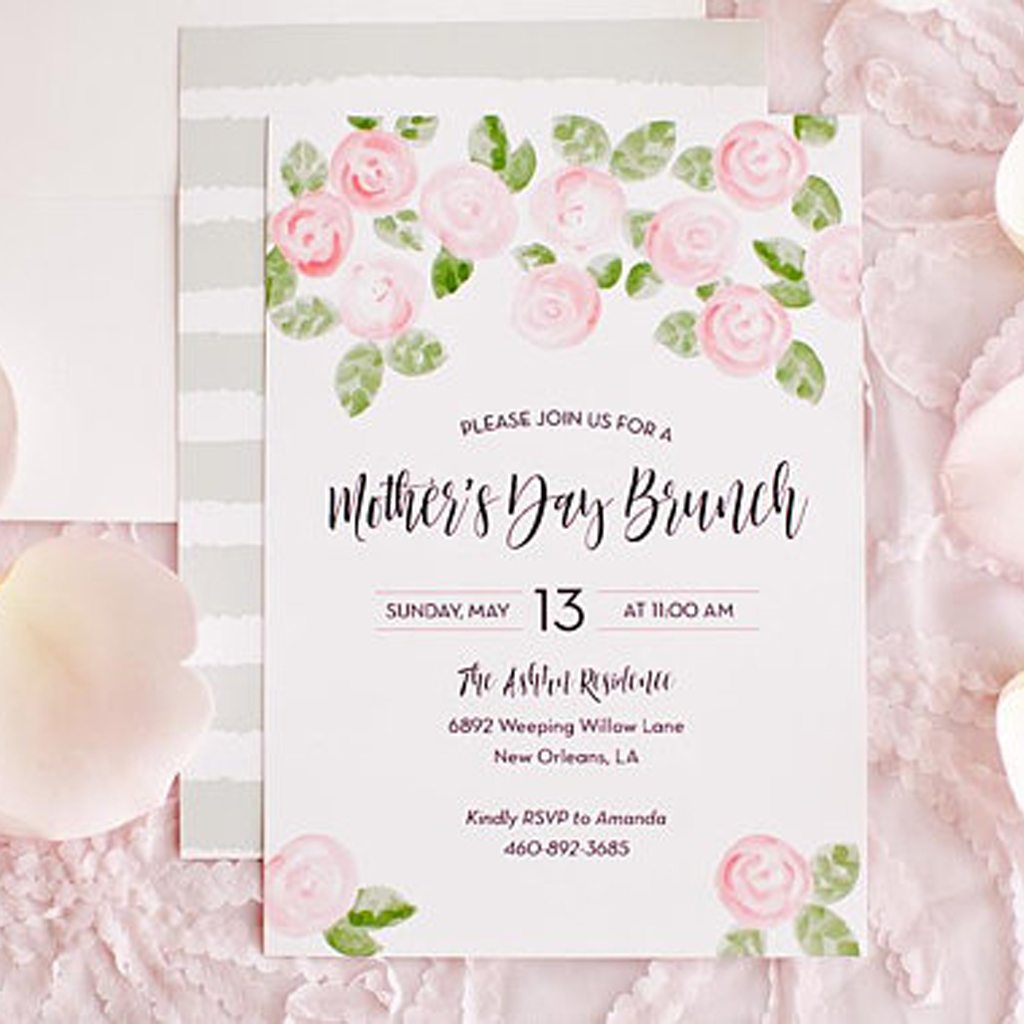 Kiss Me Kate Studio Blush Pink + Green Mother's Day Brunch Invitation, Bridal Wedding Shower, Baby Shower, Garden Party Pink Watercolor Flower Floral Peony Rose
