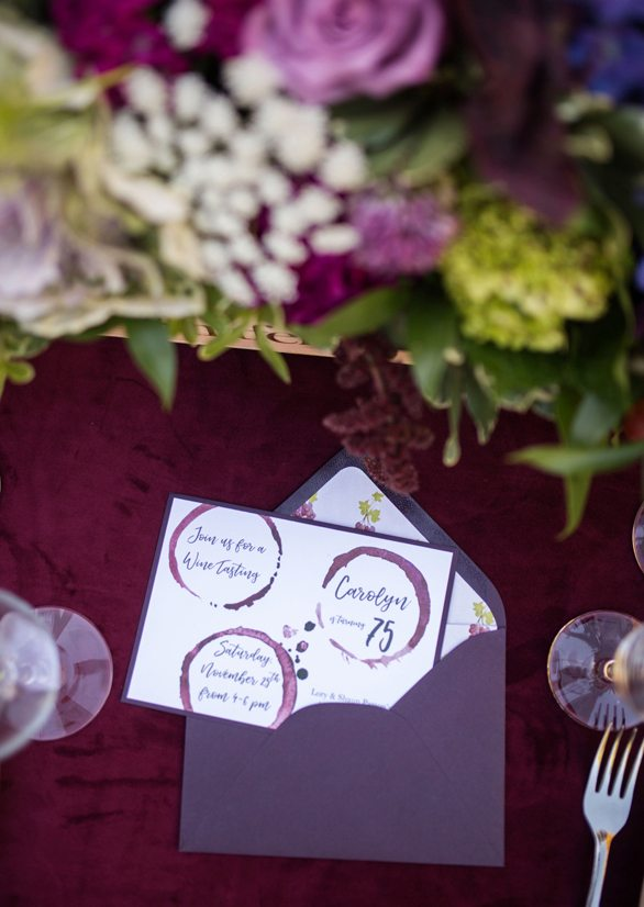 Invitation from Wine Tasting Party styled by To Have + To Hold | Black Twine