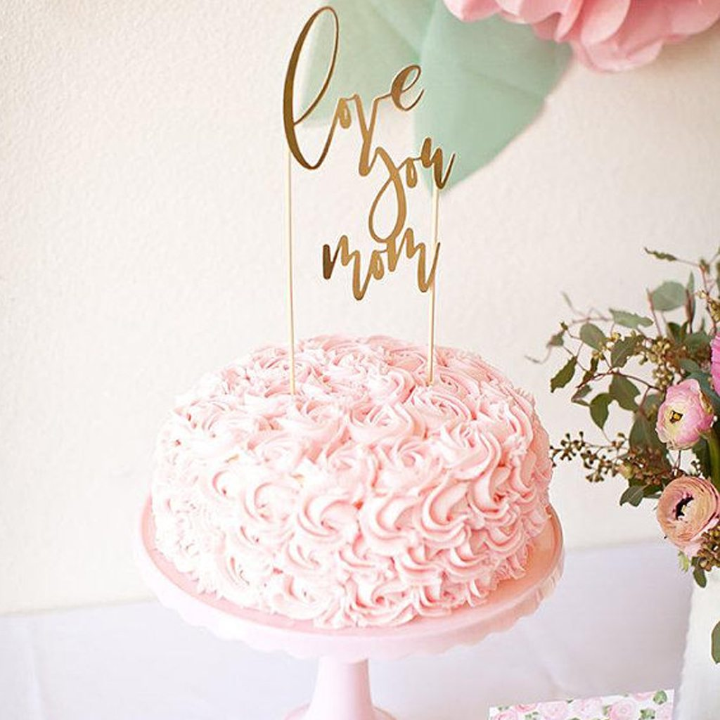 Kiss Me Kate Studio Gold Mother's Day Brunch Cake Topper, Bridal Wedding Shower, Baby Shower, Garden Party Pink Watercolor Flower Floral Peony