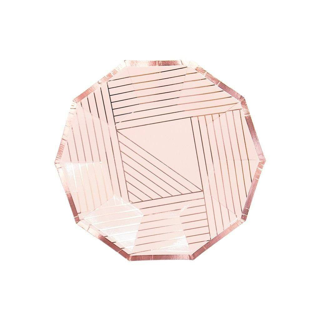 MANHATTAN - ROSE GOLD STRIPED SMALL PAPER PLATES by Harlow & Grey