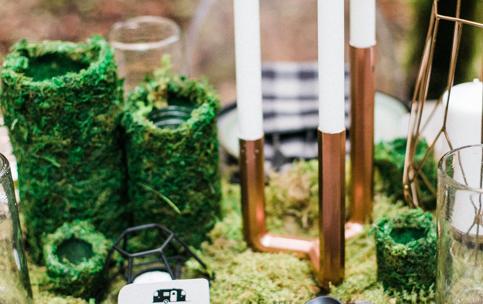 Moss Covered Jards from Into the Woods Party styled by The Revelry Co. | Black Twine