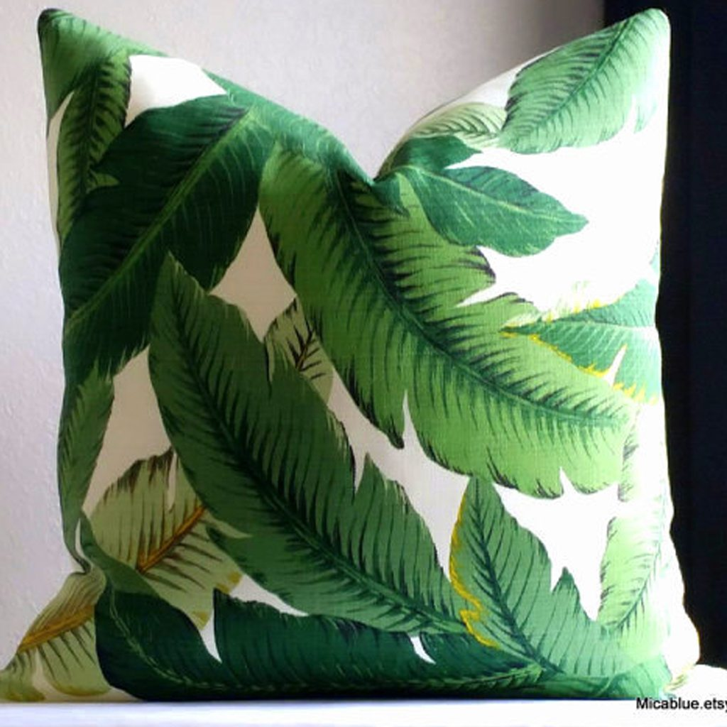 Palm leaf Pillow by Mica Blue