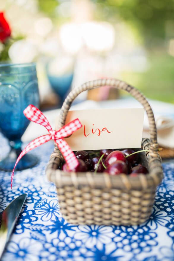 Party Favors Cherries in a Basket from A Charming Fourth of July Party styled by Event Prep | Black Twine