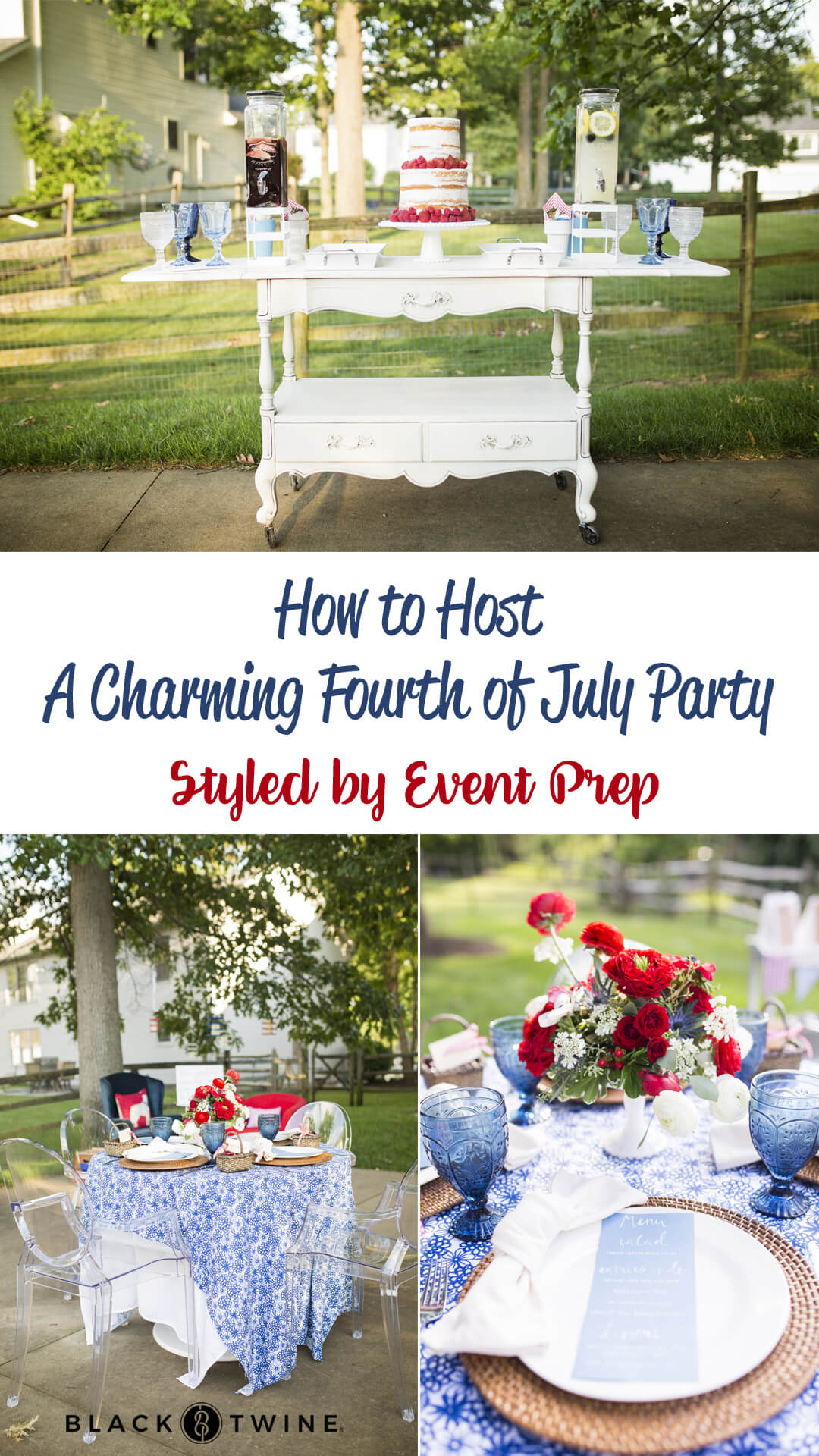 Collage Photos from A Charming Fourth of July Party styled by Event Prep | Black Twine