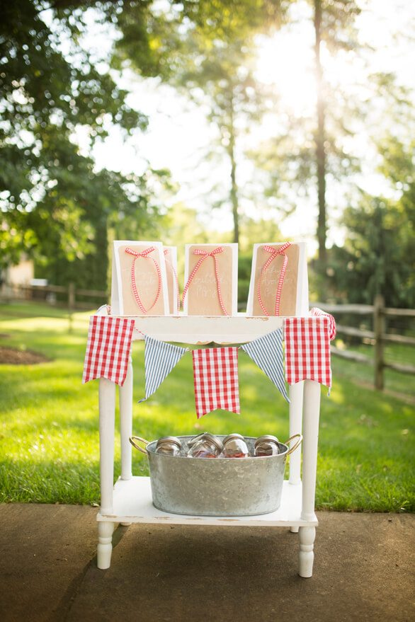 Picnic Bag and Mason Jars from A Charming Fourth of July Party styled by Event Prep | Black Twine