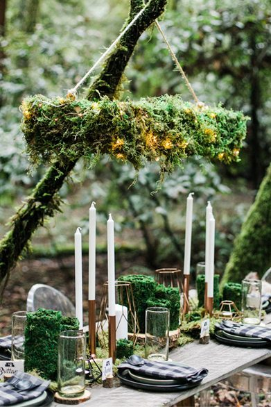 Tablescape from Into the Woods Party styled by The Revelry Co. | Black Twine
