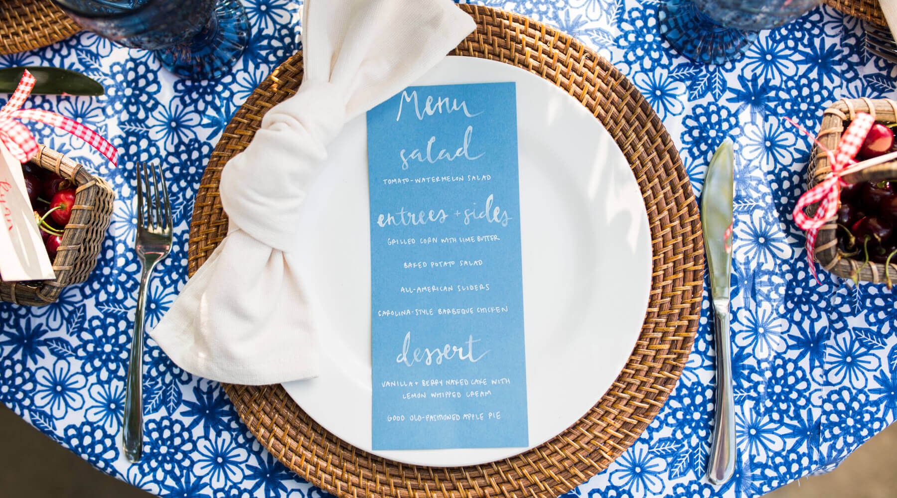 Place Setting from A Charming Fourth of July Party styled by Event Prep | Black Twine