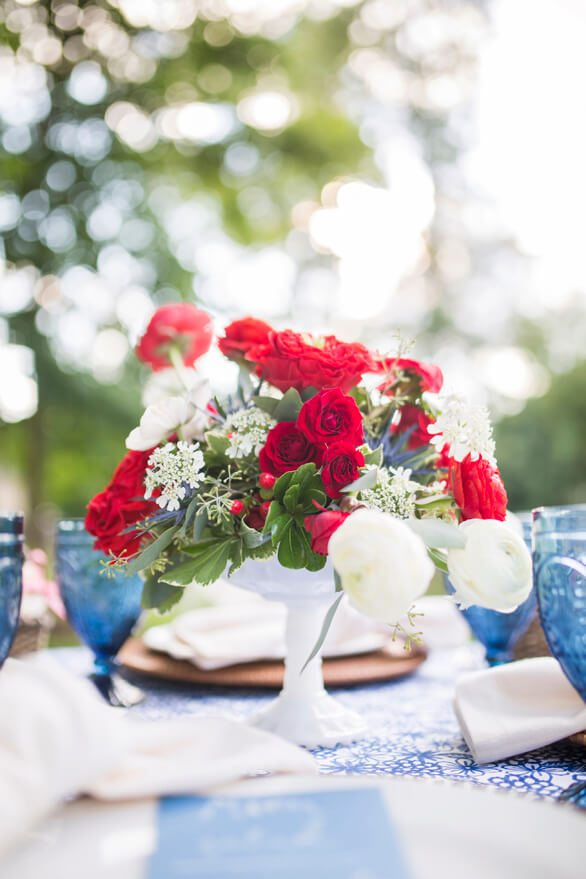 Tablescape Red Roses from A Charming Fourth of July Party styled by Event Prep | Black Twine