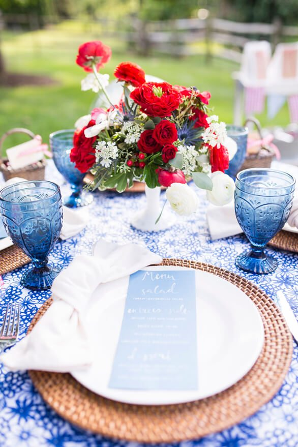 Place Setting with Flowers in a Basket from A Charming Fourth of July Party styled by Event Prep | Black Twine