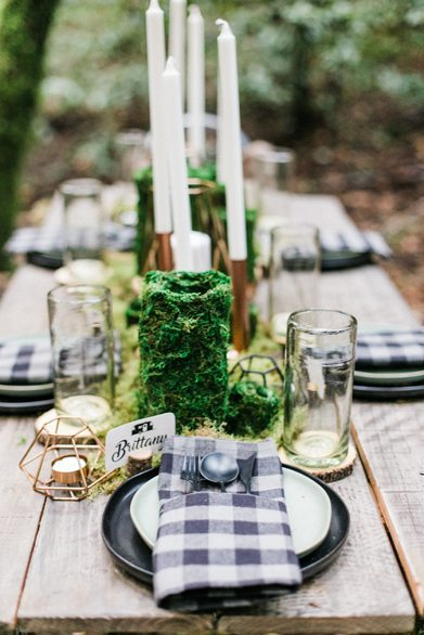Place Setting from Into the Woods Party styled by The Revelry Co. | Black Twine