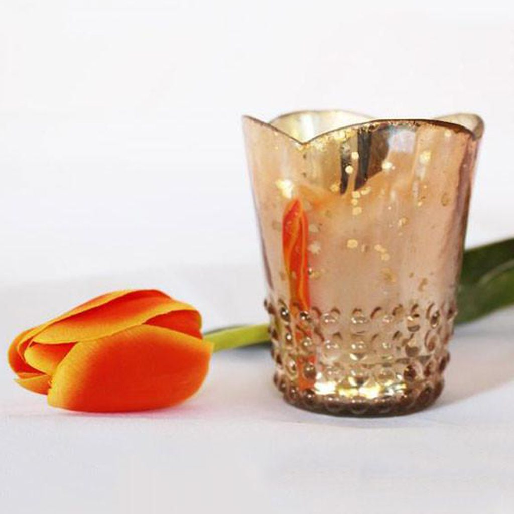 """Rose Gold Mercury Glass Candle Holder - 3.75"""" Tall"""