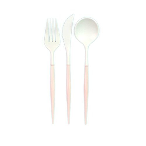 Sophistiplate Elegant Disposable Cutlery - White Flatware with Blush Handles