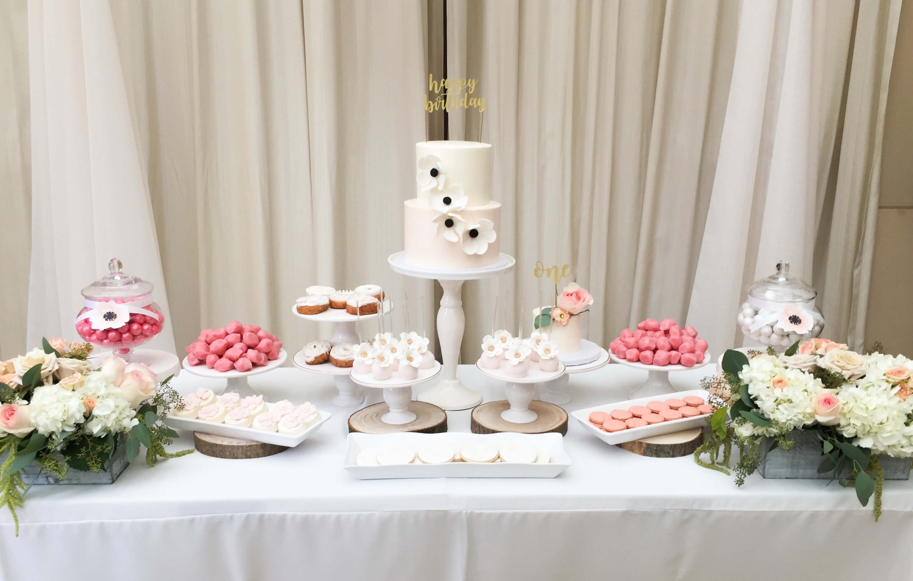 Dessert Table from Botanical Garden Birthday Party styled by Dohlhouse Designs | Black Twine