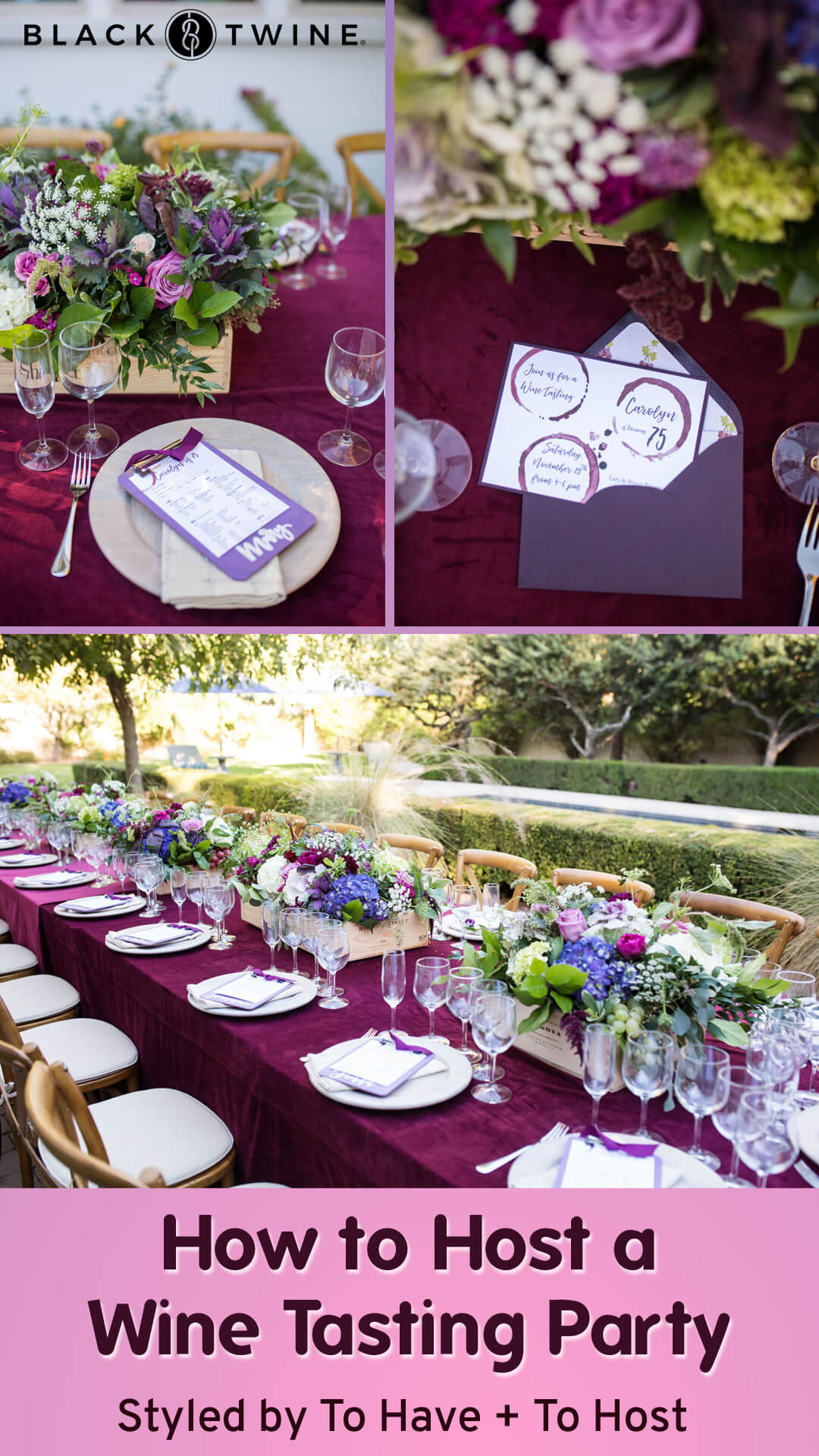 How to Host a Wine Tasting Party from Wine Tasting Party styled by To Have + To Hold | Black Twine