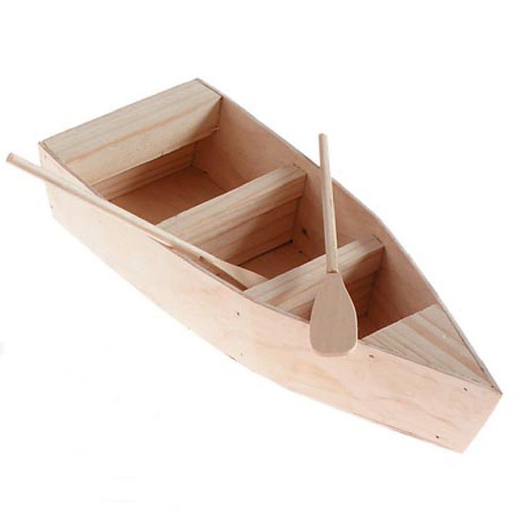 Darice Unfinished Natural Wood Craft Project Wood Boat with Oars, 12-Inch