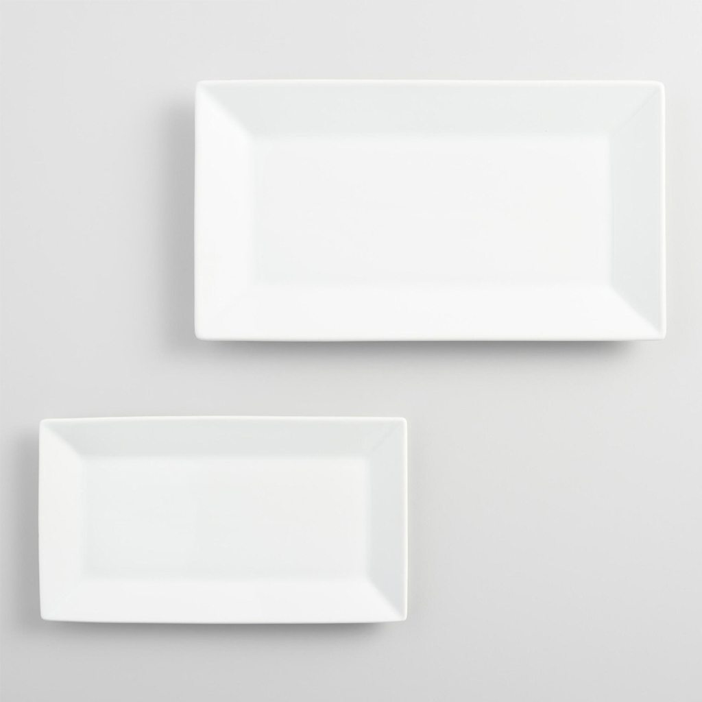 White Rimmed Rectangle Platters - Cost Plus World Market