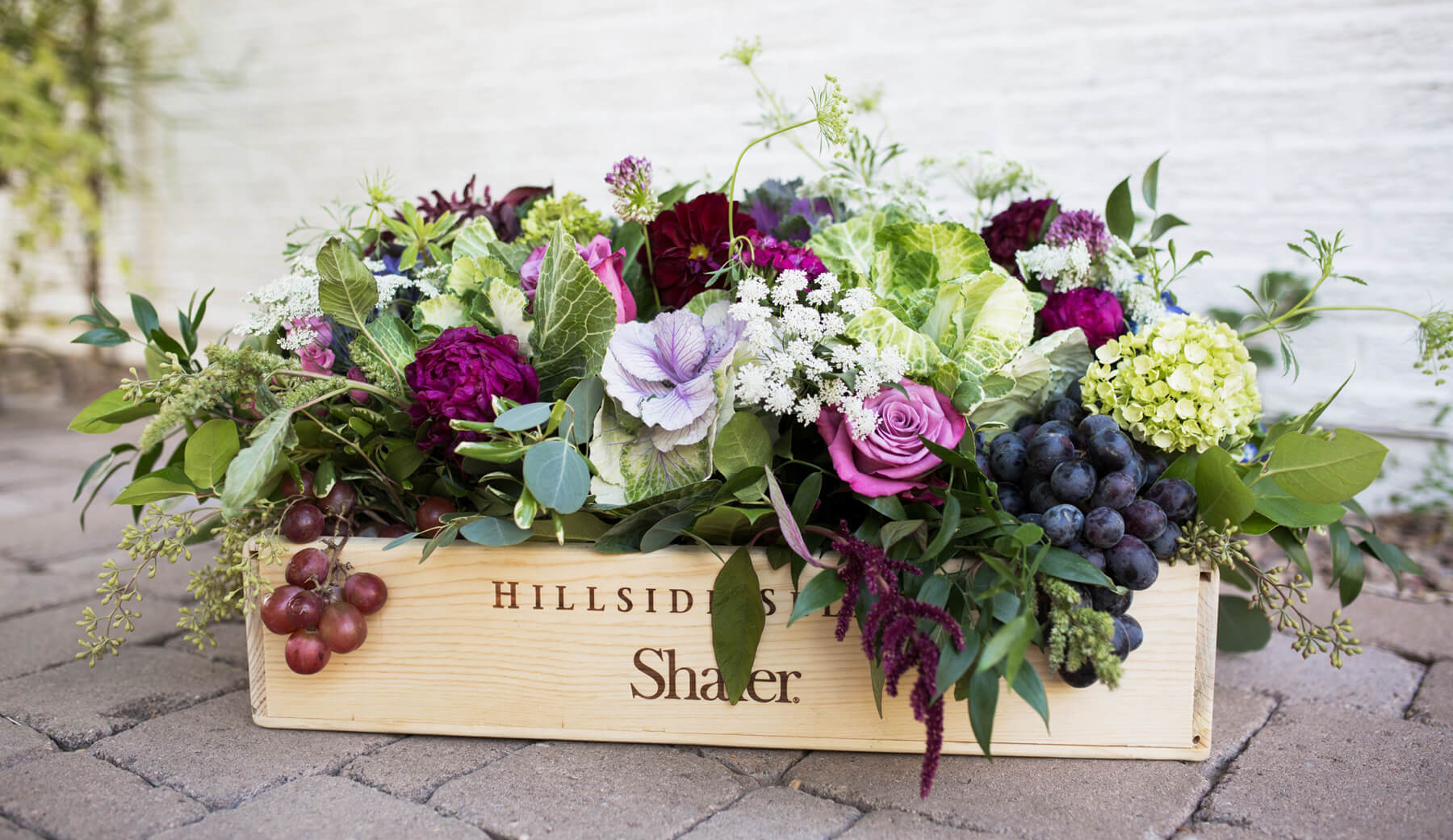 Wooden Flower Box from Wine Tasting Party styled by To Have + To Hold | Black Twine