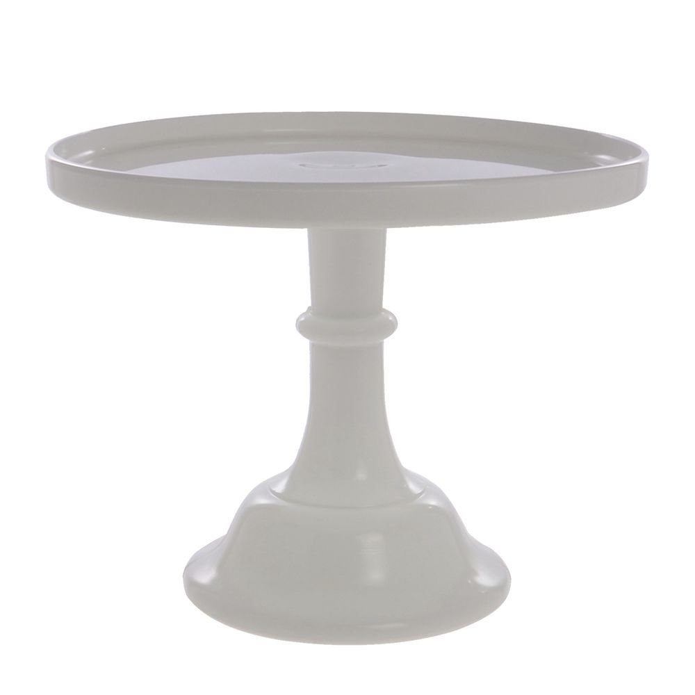 White Glass Cake Stand 9""