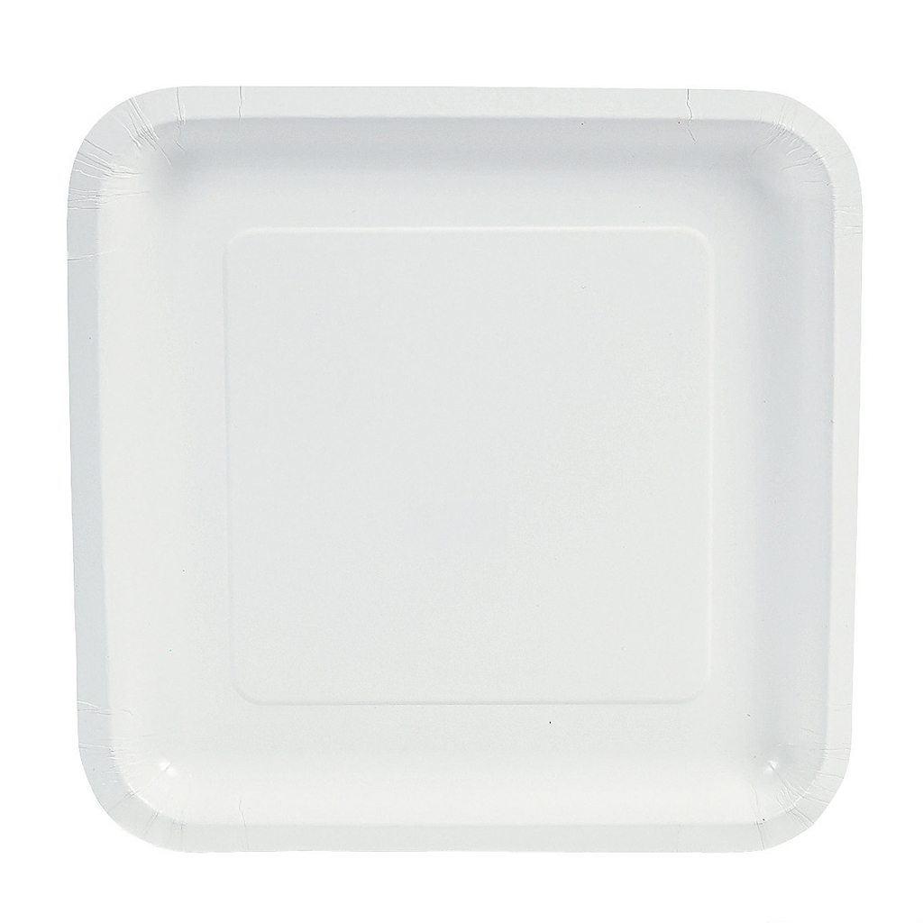 White Square Paper Dinner Plates from Oriental Trading